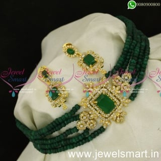 Newest Crystal Mala Choker Necklace for Lehenga Red and Green Colour OptionsNL24046