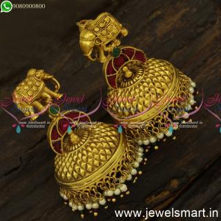 One Gram Gold Bahubali Style Jhumka Earrings For Wedding Elephant Design J24578