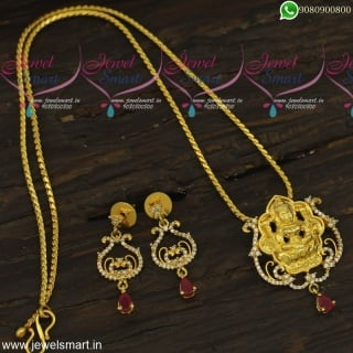 One Gram Gold Dollar Chain Designs Temple Jewellery Pendant 18 Inches Chain PS23877