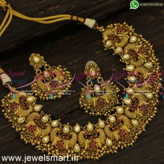 One Gram Gold Antique Kundan Necklace Set Peacock Jewellery Bridal Collections NL24307