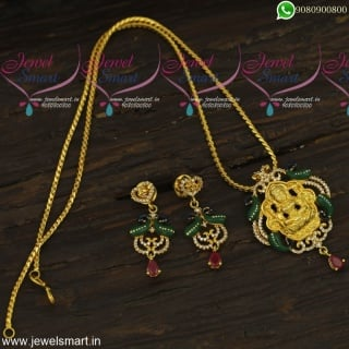 One Gram Gold Meenakari Dollar Chain Designs 18 Inches CZ Jewellery OnlinePS23878