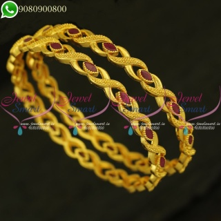 One Gram Gold Ruby Bangles Real Look Imitation Collections Shop Online B20972