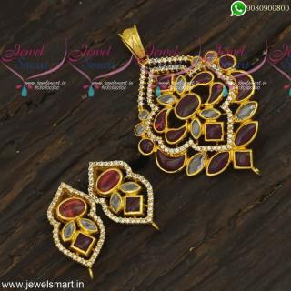 Original CZ and Kemp Stones Gold Pendant Set Designs Traditional JewelleryPS23874