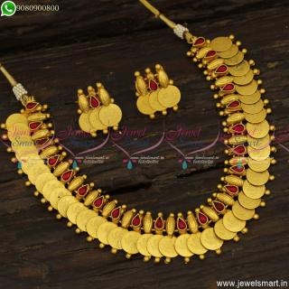 Original Matte Finish Coin Necklace Clear Laxmi God Kasumalai Set OnlineNL23765