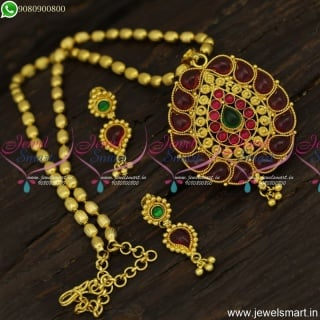 Oval Beads Traditional Gold Dollar Chain Designs Kemp Stones Earrings Online Shopping PS23919