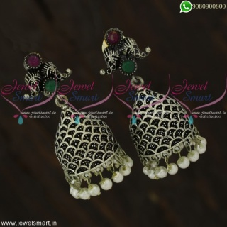 Oxidised Jewellery Jhumka Earrings Silver Plated Antique Collections J22114