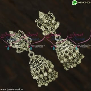 Lord Ganesha Silver Oxidised Temple Jewellery Jhumka Earrings Online