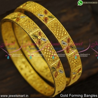 Party Wear Gold Forming Bangles Designs Latest One Gram Jewellery Collections B23979