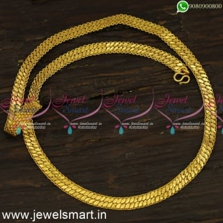 Flat Pattai Gold Plated Chains For Daily Wear With Guarantee Covering Jewellery C24116