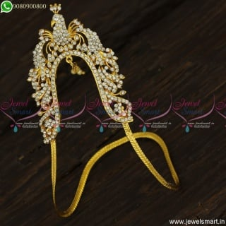 Peacock Design Gold Vanki Design Medium Size In Imitation or Artificial White Stones V23467