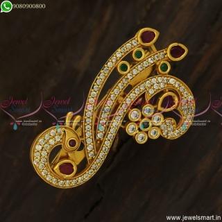 Peacock Design Fancy Saree Pins CZ Fashion Jewellery Accessories Online SP23712