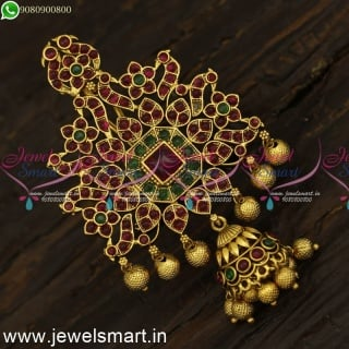 Peacock Jada Billalu With Real Kemp Accessories For Hair Antique Traditional Jewellery H24105