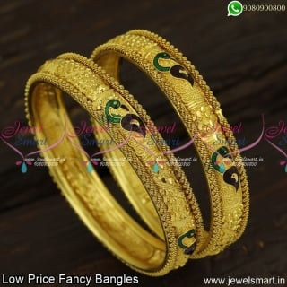 Peacock Meenakari Designer Bangles Broad Spiral Border Low Price Artificial Jewellery