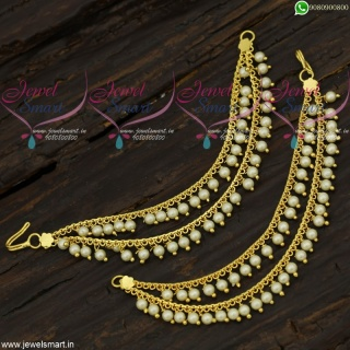 Pearl Beads Ear Chains 2 Lines Mattal South Indian Low Price Gold Plated EC21703