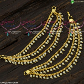 Pearl Ear Chains 3 Lines Mattal South Indian Designs Low Price Gold Plated