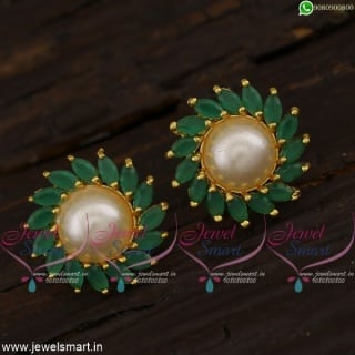 Traditional Ear Studs With Pearls and Marquise AD Stones Jaipur Jewellery