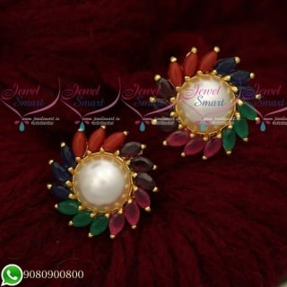 Pearl Ear Studs Online Marquise AD Stones Designer Jewellery CollectionsER19488