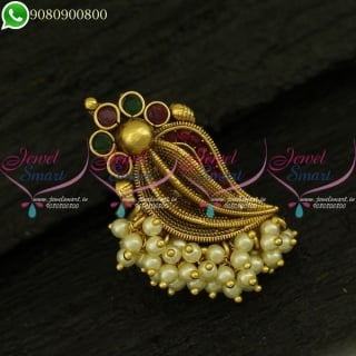 Pearl Finger Rings Designs Latest Antique Gold Plated Imitation Jewellery Online F20995