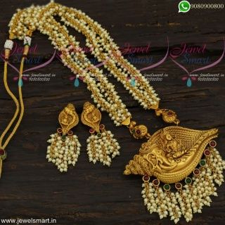 Pearl Temple Jewellery Baahubali Style Laxmi God On Elephant 3D Pendant Set NL21738