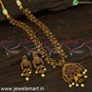 Peculiar Antique Gold Bridal Necklace Set Blossoming Floral Jewellery CollectionsNL24503