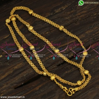 Peculiar Flat Cutting Artificial Gold Chains With Balls Latest Jewellery Online C23253