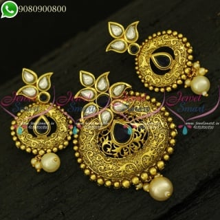 Pendant Set Antique Jewellery Designs Kundan Gold Plated Traditional Jewellery Online PS21035