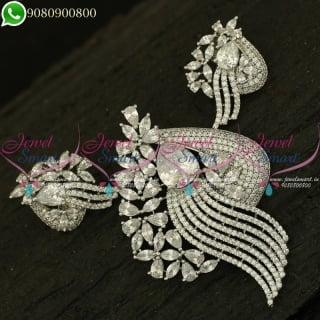 Pendant Set Diamond Design Silver Plated Stylish Jewellery Collections