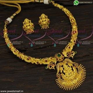 Pipe Necklace Unusual One Gram Gold Temple Jewellery AD Stones Online NL22654