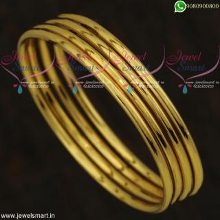 Plain Gold Bangle Design Daily Wear Imitation Jewellery Online Lowest Price B21814