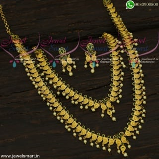 Pleasing Looks Long Necklace Combo Set Mini Bridal Jewellery Gold Plated Online