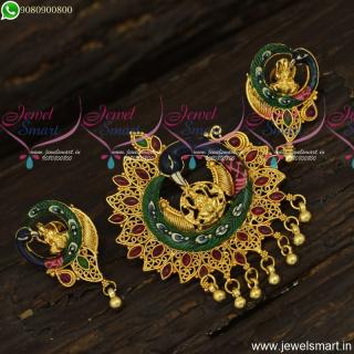 Popular Meenakari Temple Jewellery Kemp Stones Designer Pendant SetPS23911