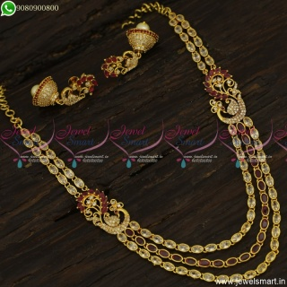 Popular Stone Layered Necklace Sets With Jhumka Earrings Gold Plated Latest NL23557