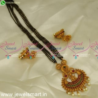 Popular Temple Pendant Designs In Low Price Mangalsutra With Jhumkas OnlineMS24215