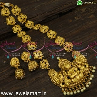 Preferred Traditional Antique Gold Long Necklace Designs Online Temple Nagas Jewellery NL24240