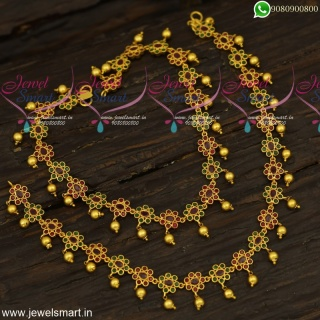 Premium Fashion Jewellery Designs Stone Anklets For Bride Ruby Emerald Stones P23966