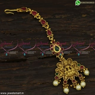 Premium Temple Jewellery Designs Maang Tikka For Wedding With Pearls T23365