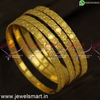 Projected Plain Dots and Star Print One Gram Gold Bangles Simple Design B24328