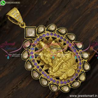 Purple and Kundan Unique Nakshi Antique Gold Pendant Designs OnlinePS23909