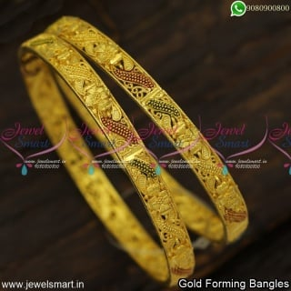 Rajkot Made Floral Gold Forming Bangles Set Prodigious Fashion Jewellery Designs B23977