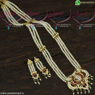 Rani Haar Hyderabad Long Pearl Necklace Gold Design Jewellery NL22045
