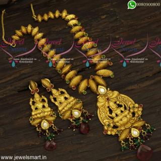 Rare Designer Temple Jewellery Necklace Set Coconut Shell Pattern Antique GoldNL23939