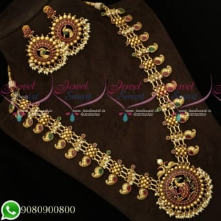 Ravishing Guttapusalu Haram Manga Malai Antique Long Gold Necklace NL19348A