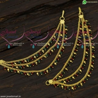 Red Green Beads Ear Chains 3 Lines Mattal South Indian Low Price Collections