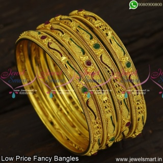 Red and Green Enamel Fancy Bangles Set of 4 Low Price Fashion Jewellery Online B23890