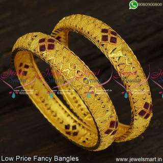 Red Stone Hollow Designer Bangles Broad Low Price Artificial Jewellery B23892