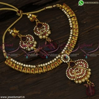 Red and White Antique Necklace Set Handmade High Gold Plating Low Price Online NL22939