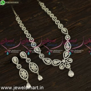 Reflective CZ White Stone Diamond Necklace Designs Subtle Silver Plated Jewellery NL24186