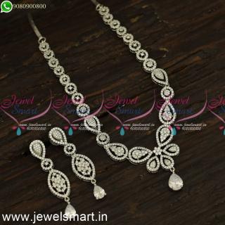 Reflective CZ White Stone Diamond Necklace Designs Subtle Silver Plated Jewellery NL24186