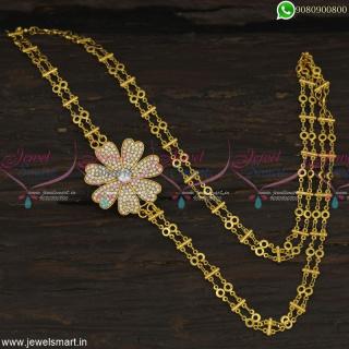 Rettai Vadam Fancy AD White StonesMugappu Gold Covering Chain 24 InchesOnline