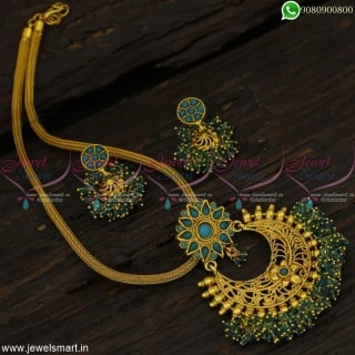 Rope Chain Colour Beads Pendant Mini Jhumka Low Price Fashion Jewellery Designs Online